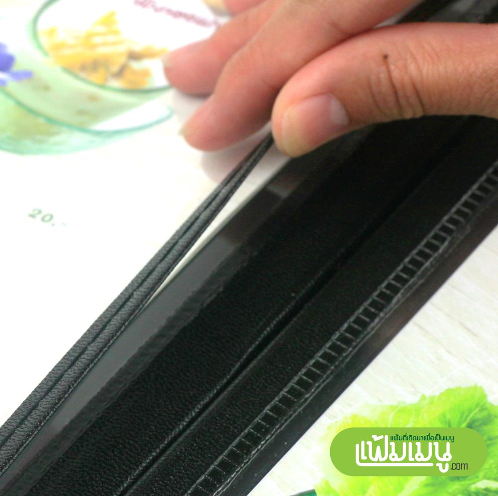 แฟ้มเมนูอาหารแบบ Loft 4 view ขอบหนัง Menu cover thailand
