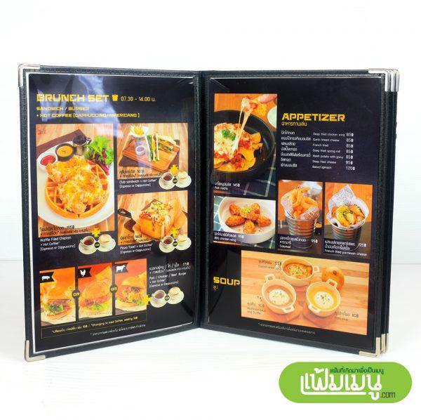 แฟ้มเมนูอาหารกันน้ำ Loft 8 หน้า- menu cover shop thailand
