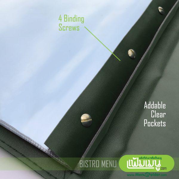 แฟ้มเมนู Bistor เขียวเข้ม ด้านในใช้ซองพลาสติกพีวีซี เพิ่ม/ลดง่าย