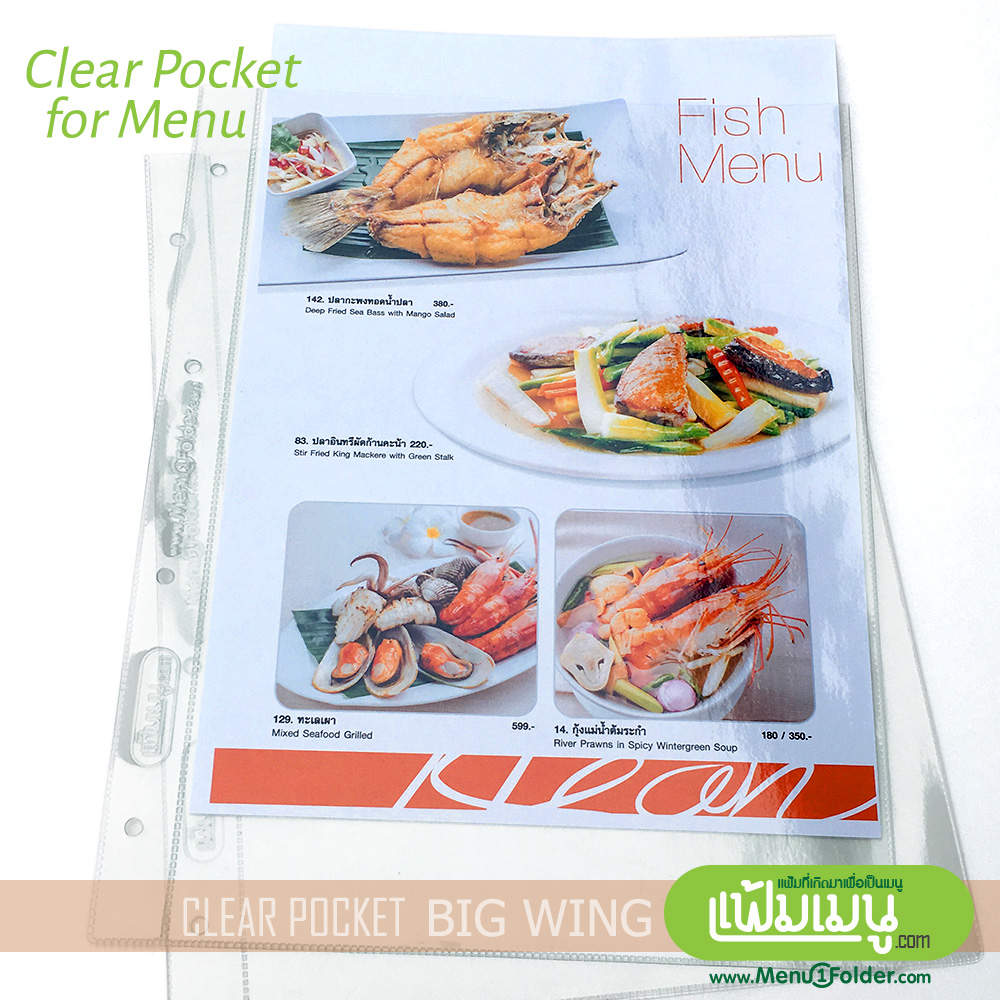 plastic pocket for menu book A4