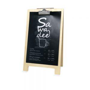 ป้ายบอร์ด a5 ไม้สีบีช ท็อปโต๊ะร้านกาแฟ