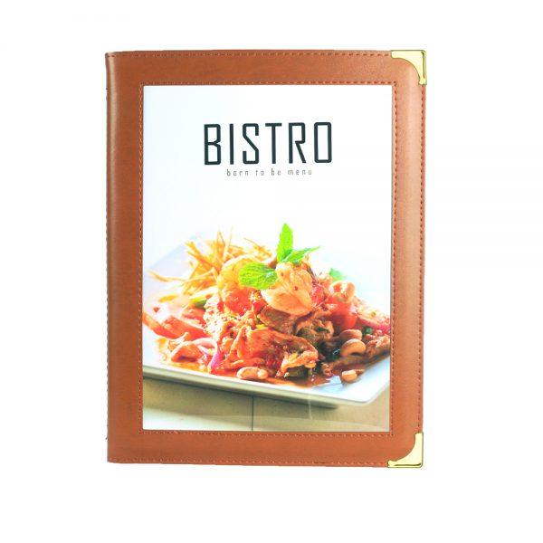 แฟ้มเมนูหนัง Bistro สีน้ำตาล brown menu cover thailand