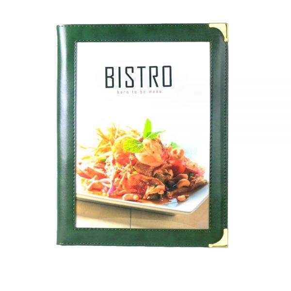 แฟ้มเมนู Bistro สีเขียวมรกด menu cover thailand
