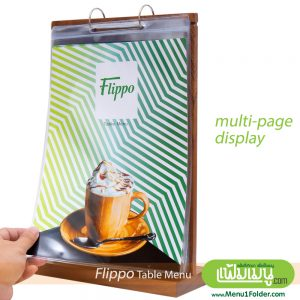 Multi-Page Table Menu with PVC Hanging Pocket