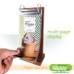Flippo Wood Table Menu - Double Metal loop