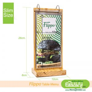 Flip Table Menu with wood style -Slim Size