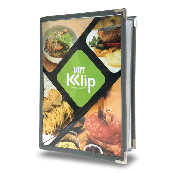 Refill able menu cover with metal clip