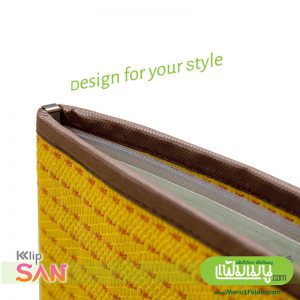 Yellow Thai Style Menu Cover, Refillable pockets