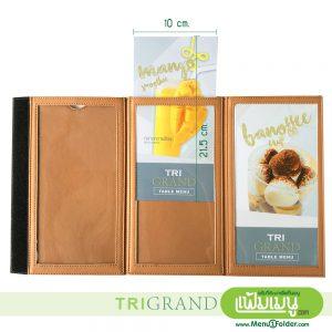 Triangular Leather Table Menu - Caramel Brown