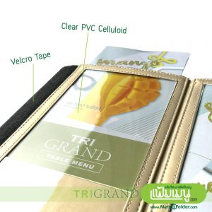 Triangle Table Menu- Gold Leather